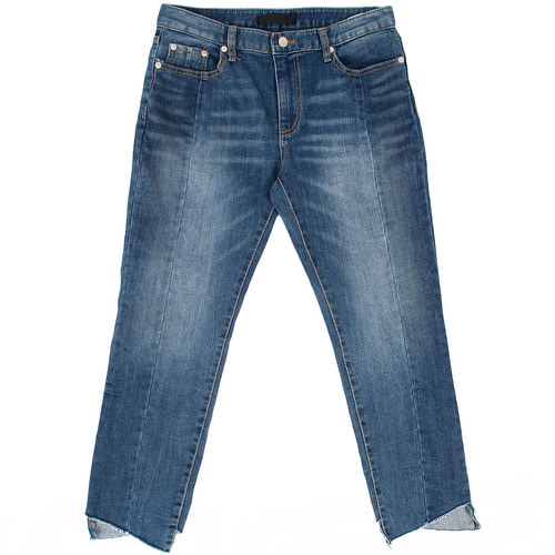Unbalanced Diagonal Cut Hem Faded Blue Jeans 039