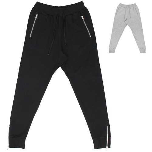 Zipper Pocket Zippered Hem Slim Joggers 043