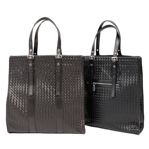 Synthetic Weave Pattern Leather Zipper Pocket Tote Bag 002