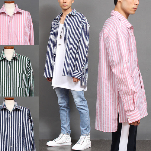 Loose Fit Striped Split Side Long Shirt
