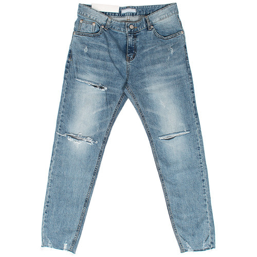 Street Wear Faded Distressed Cutting Hem Slim Blue Jeans 044