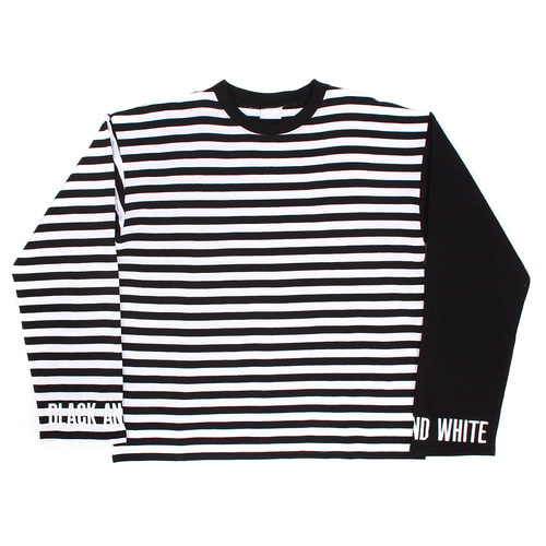 Street Fashion Striped Pattern Cuff Logo Stitched Boxy Tee 021