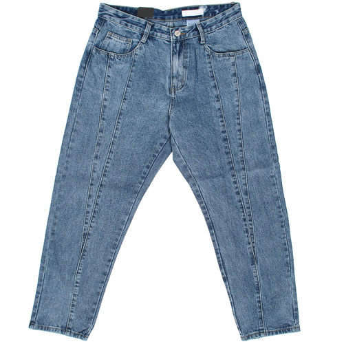 Double Line Stitch Semi Baggy Blue Jeans 046