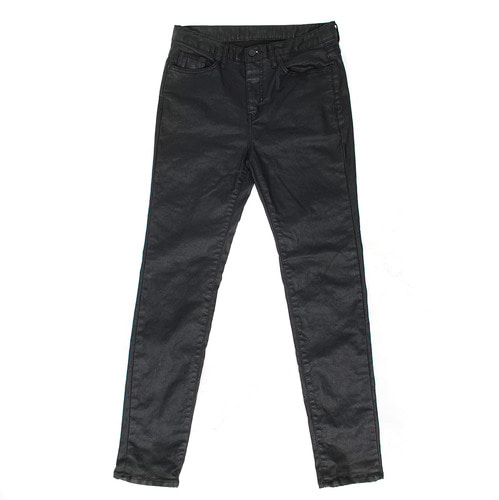 Coated Black Stretchable Slim Fit Jeans