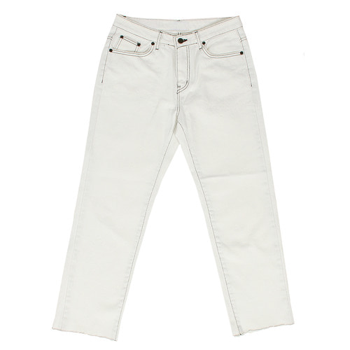 Straight Standard Fit Cut Hem White Jeans