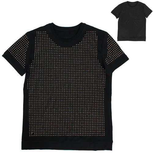 Unique Fashion Gold Black Studs Short Sleeve Tee 150