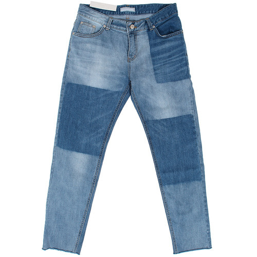 Unique Faded Washed Cut Hem Slim Blue Jeans 050