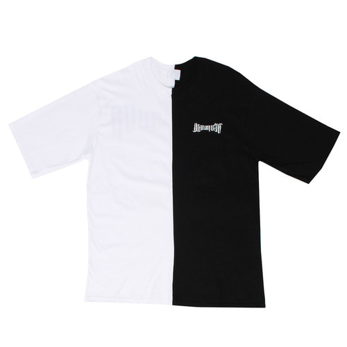 Contrast Half Color Graphic Printing Short Sleeve Tee
