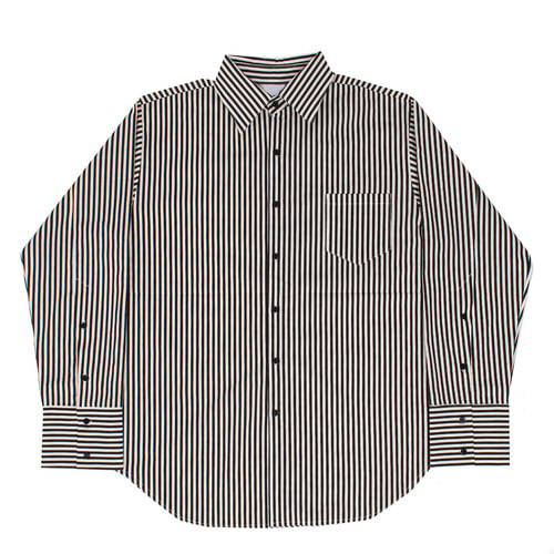 Striped Pattern Button Up Cuffs Over Boxy Shirt