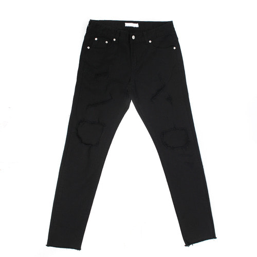 Vintage Damaged Cut Off Black White Knee Off Skinny Jeans 053