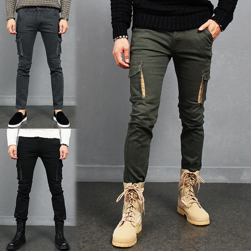 Military Look Slim Fit Skinny Cargo Pocket Pants