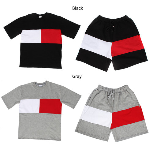 Loose Fit Contrast Color Gym Wear Tee Shorts Set