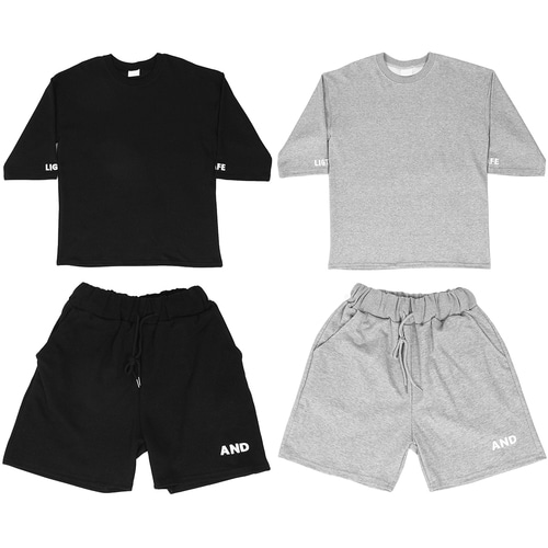Loose Fit Logo Stitched Gym Wear Tee Shorts Set 004