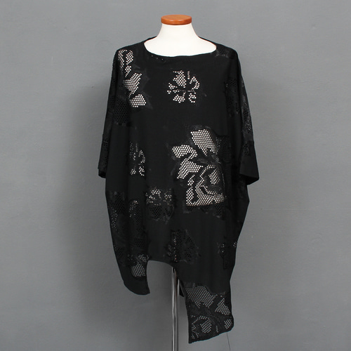 Avant garde See Through Flower Mesh Unbalanced Tee