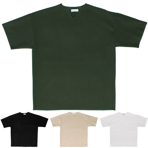 V Neck Trim Color Short Sleeve Tee 179