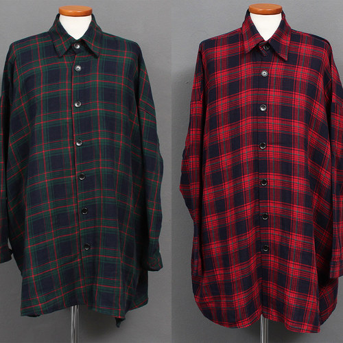 Street Fashion Checkered Big Over Boxy Shirt Jacket 029