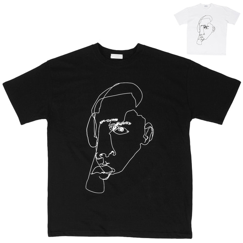 Face Drawing Printing Boxy Short Sleeve Tee 184