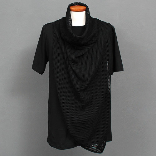 Avant garde Mesh Turtle Neck Layered Short Sleeve Tee 185
