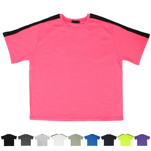 Side Contrast Line Color Short Sleeve T Shirt 186