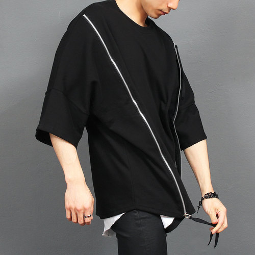 Avant garde Double Diagonal Zip Up Boxy Tee 148