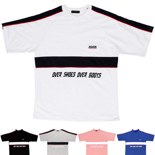 Hiphop Fashion Logo Stitched Color Short Sleeve Tee 202