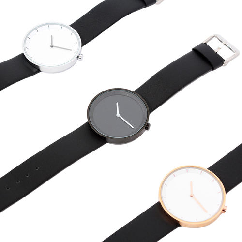 Simple Design Round Leather Strap Watch 002