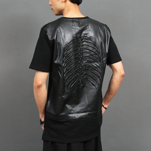 Back Perforation Faux Leather Embossed Rubber Tee 212