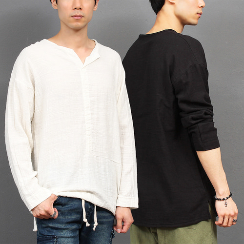 Loose Fit Split Side No Button Henley Neck Tee 024