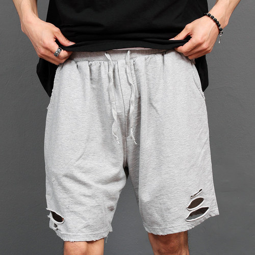 Loose Fit Vintage Distressed Damaged Cut Short Sweatpants 009