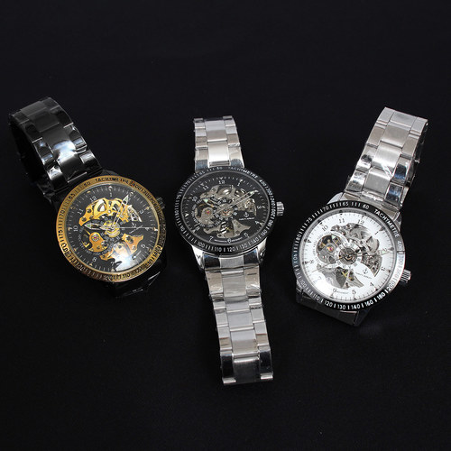 Self Winding Transparent Mechanical Movement Oyster Chain Watch