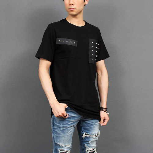 Studded Faux Leather Patch Short Sleeve Tee 222