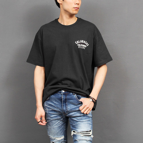 Loose Fit Logo Printing Boxy Short Sleeve Tee 224
