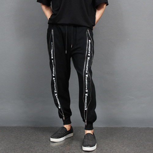All Zipper Open Skull Logo Printing Jersey Joggers 079