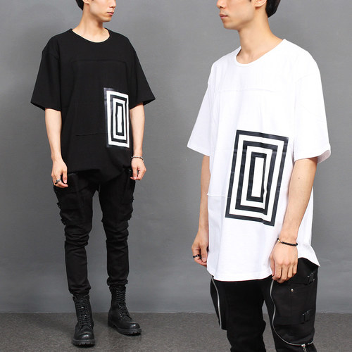 Triple Square Graphic Printing Short Sleeve Tee