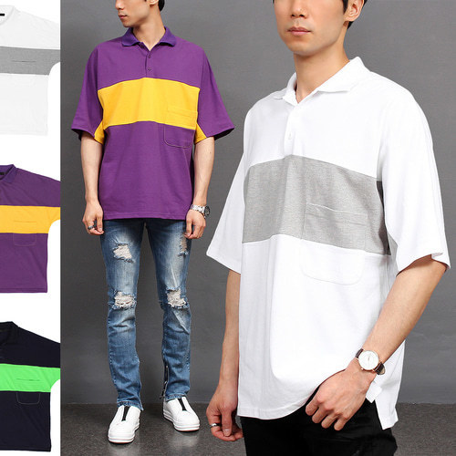 Loose Fit Collar Contrast Color Short Sleeve Tee 229