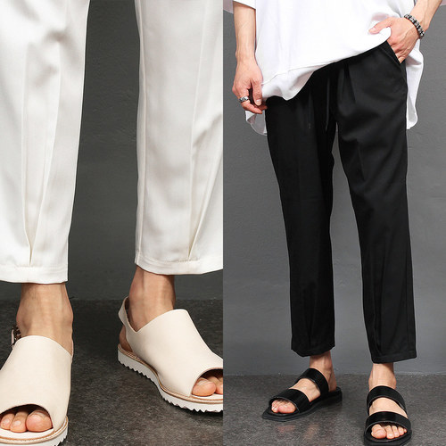 Slim Fit Elasticized Waistband Wrinkle Slacks Pants 021