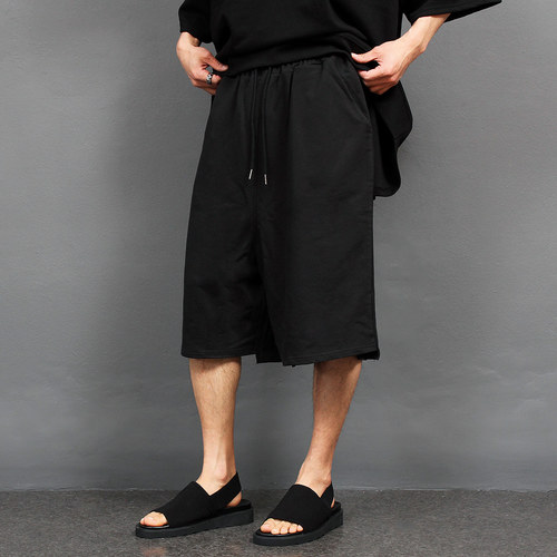 Oversized Wide Fit Black Short Sweatpants 011