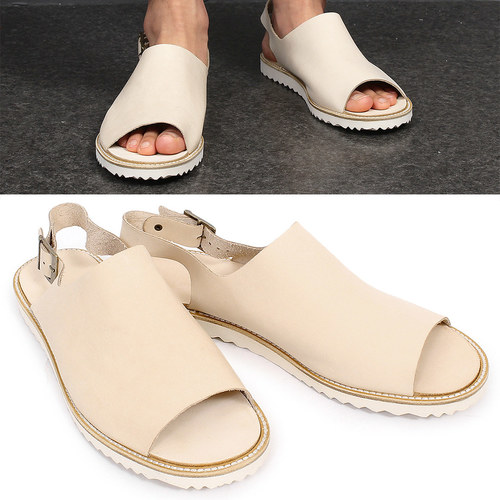 Beige Leather Open Toe Buckle Strap Sandals 002