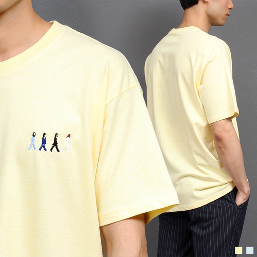 Walking Beatles Stitched Boxy Short Sleeve Tee 240