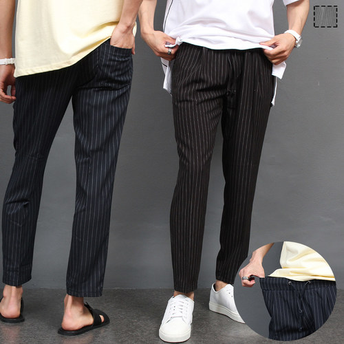 Waistband Striped Slacks Pants