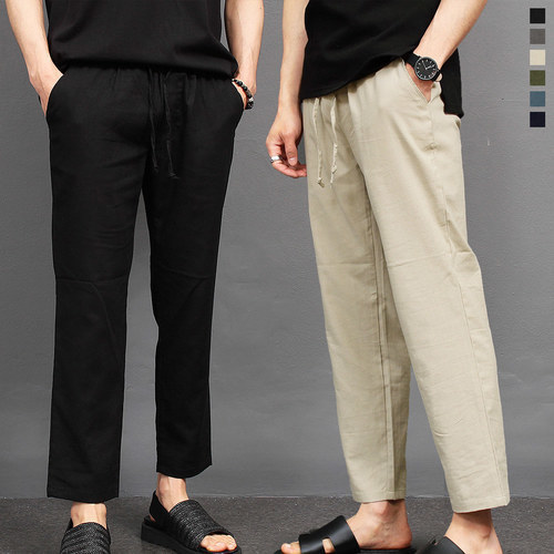 Elasticized Waistband Linen Slim Pants 027