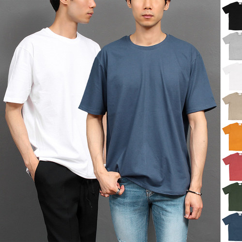 Loose Fit Basic Boxy Crew Neck Short Sleeve Tee 252