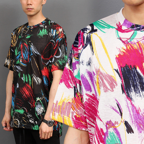 See Through Color Painting Split Side Tee 254