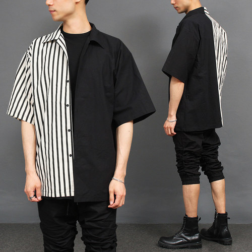 Half Black Stripe Over Boxy Short Sleeve Shir