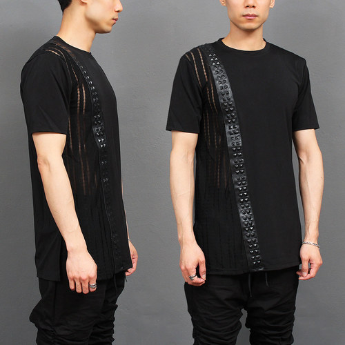 Pyramid Studded Faux Leather Partially Mesh Black T Shirt
