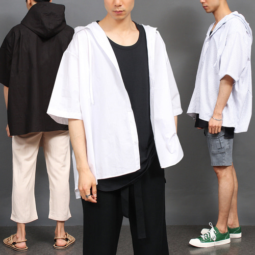 Short Sleev Boxy Hooded Shirt