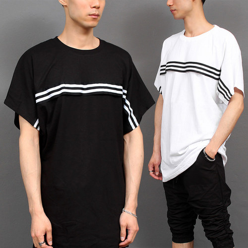 Loose Fit Striped Flap Raglan Short Sleeve T Shirt 261
