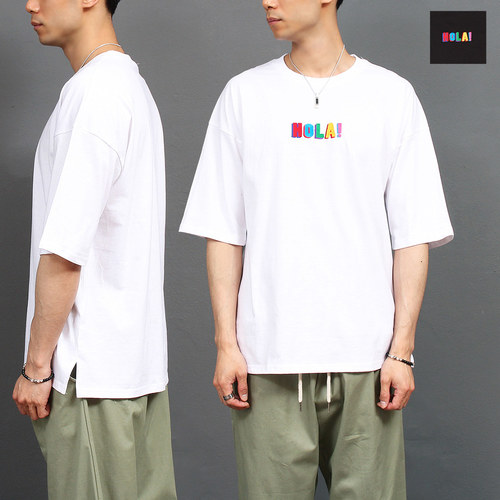 Loose Fit Hola Logo Stitched Boxy Short Sleeve Tee 259
