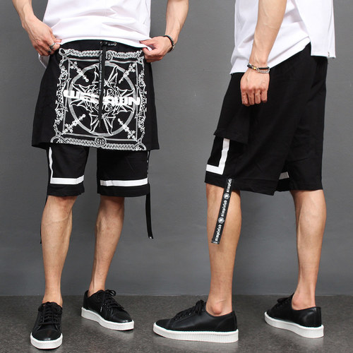 Draped Strap Short Sweatpants