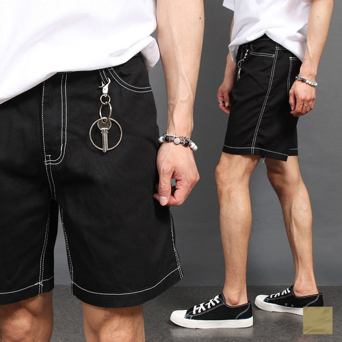 Contrast Stitched Key Ring Styling Shorts 024